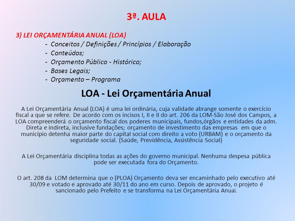 LOA - Lei Orçamentária Anual