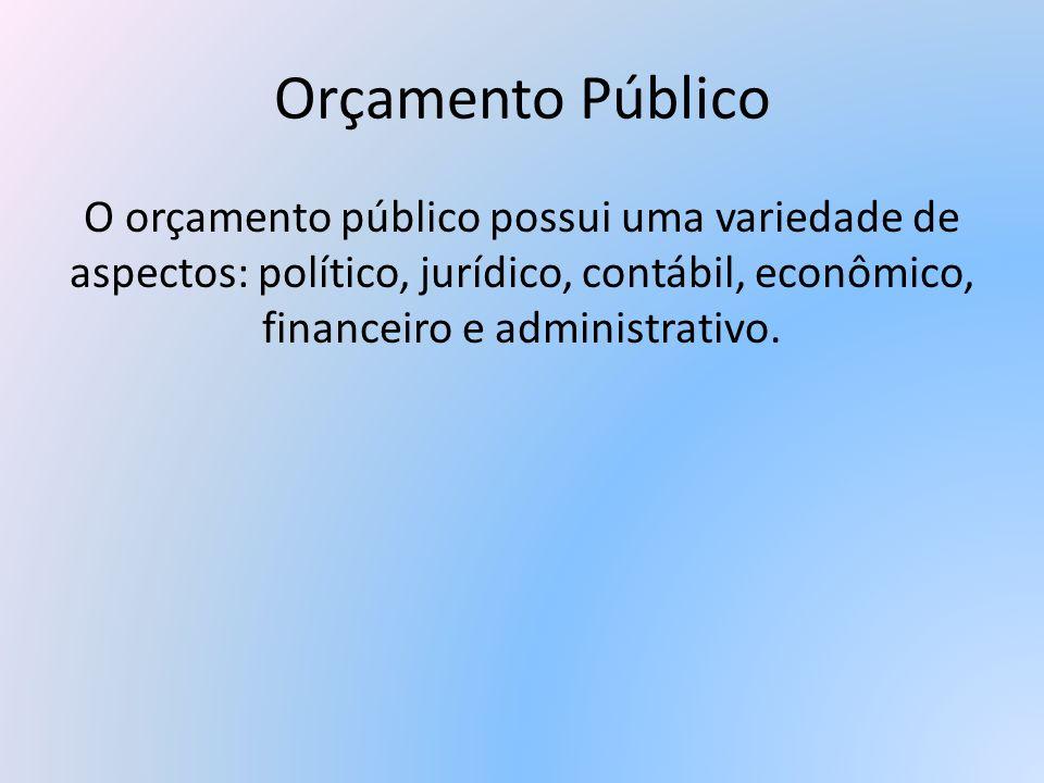 Orçamento PúblicoO orçamento público possui uma variedade de aspectos: político, jurídico, contábil, econômico, financeiro e administrativo.