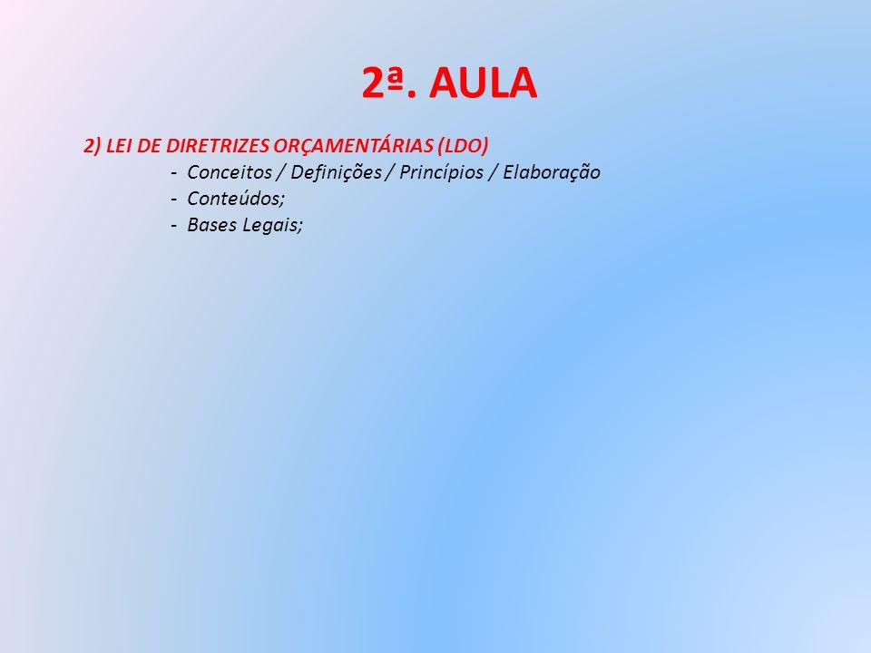 2ª. AULA 2) LEI DE DIRETRIZES ORÇAMENTÁRIAS (LDO)