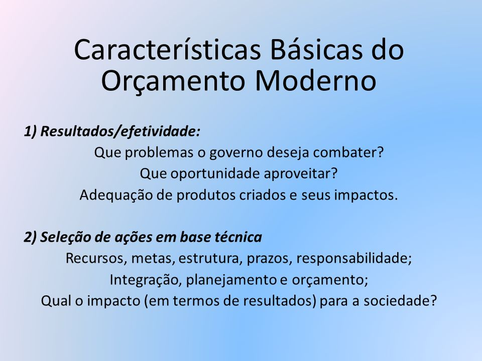 Características Básicas do Orçamento Moderno