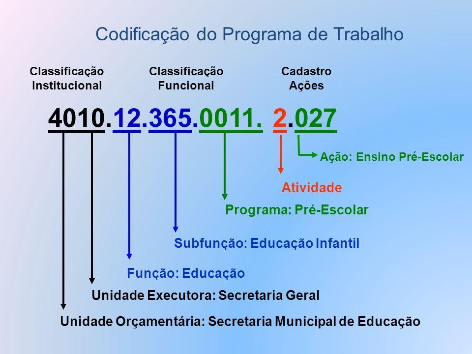 Classificação Institucional Classificação Funcional