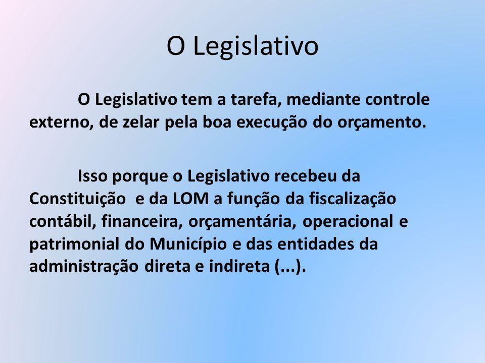 O LegislativoO Legislativo tem a tarefa, mediante controle externo, de zelar pela boa execução do orçamento.