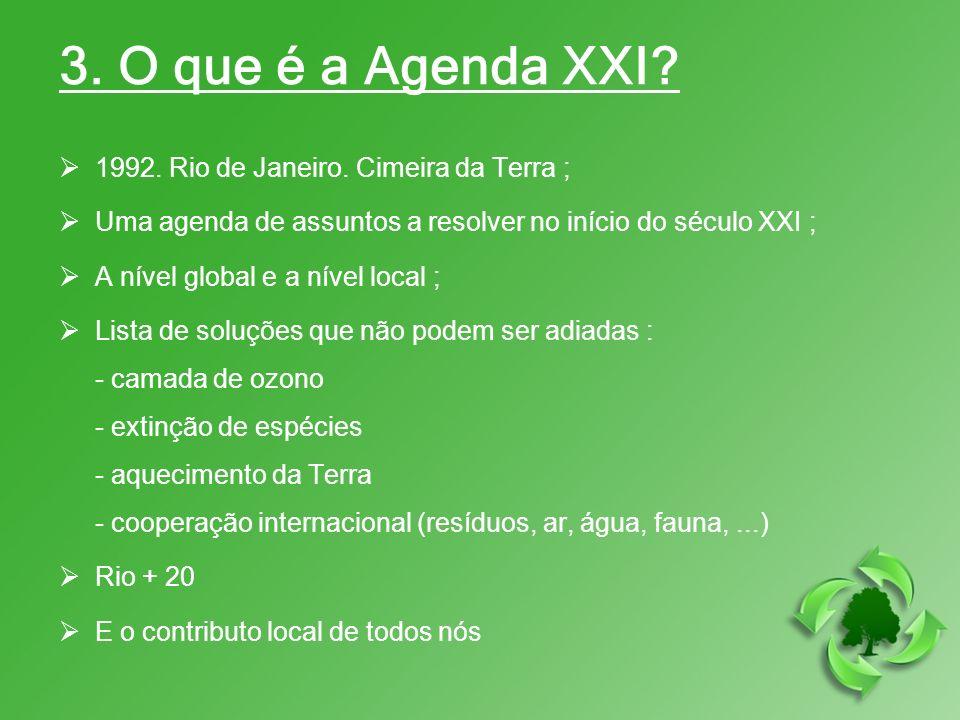 3. O que é a Agenda XXI 1992. Rio de Janeiro. Cimeira da Terra ;