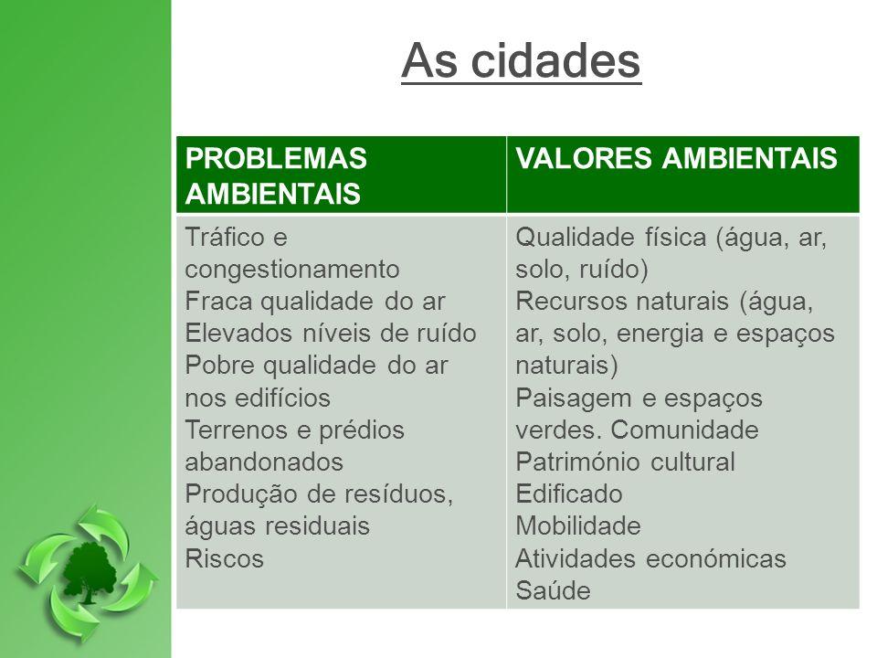 As cidades PROBLEMAS AMBIENTAIS VALORES AMBIENTAIS