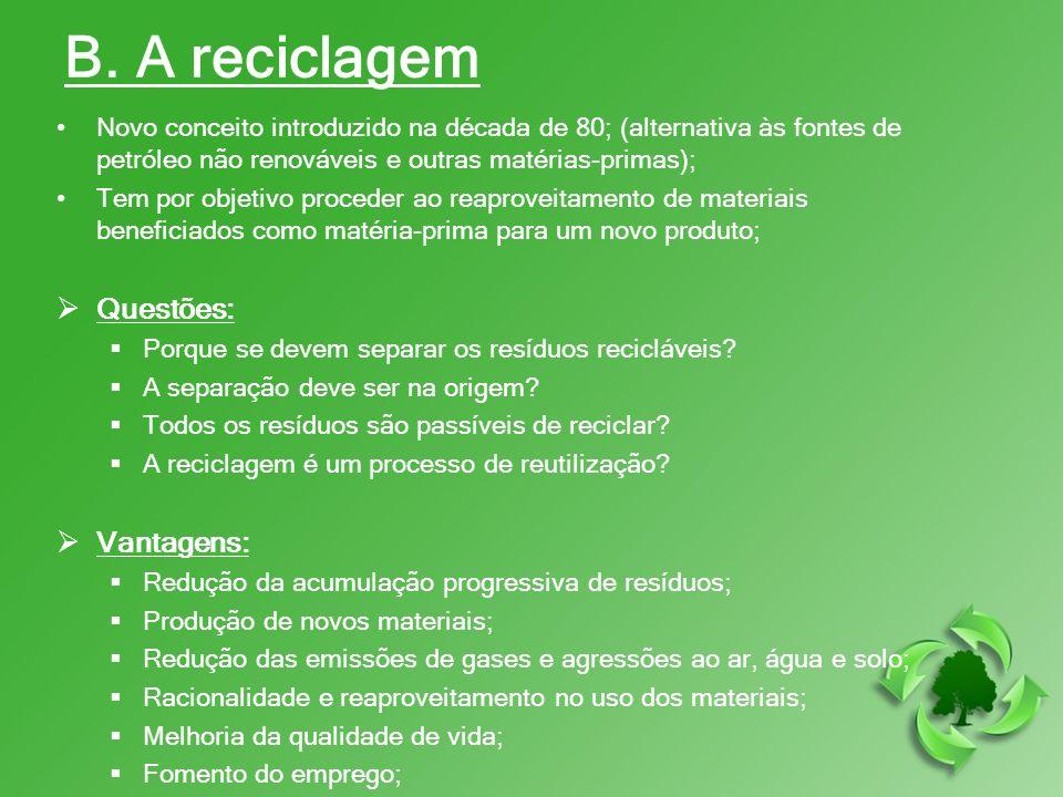 B. A reciclagem Questões: Vantagens: