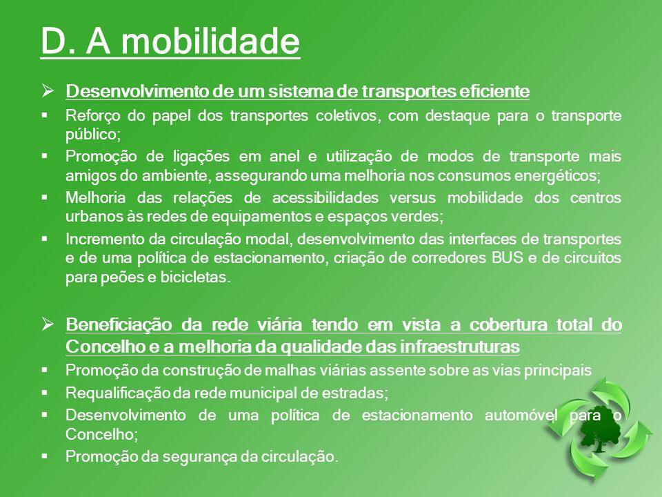 D. A mobilidade Desenvolvimento de um sistema de transportes eficiente