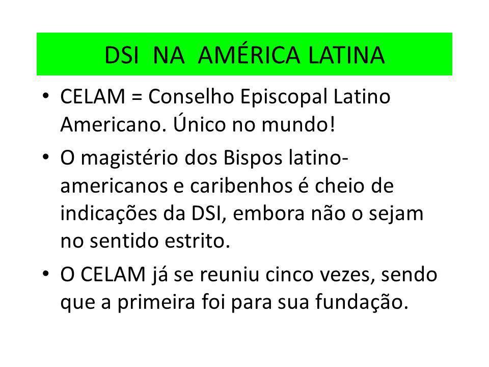 DSI NA AMÉRICA LATINA CELAM = Conselho Episcopal Latino Americano. Único no mundo!