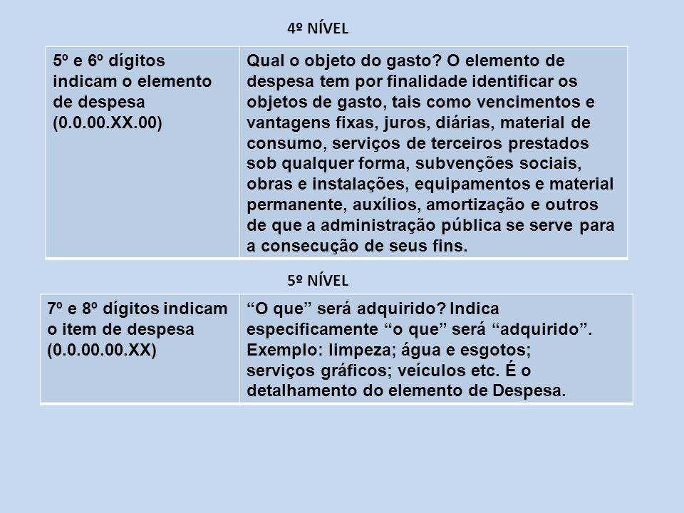 4º NÍVEL 5º e 6º dígitos indicam o elemento de despesa. (0.0.00.XX.00)