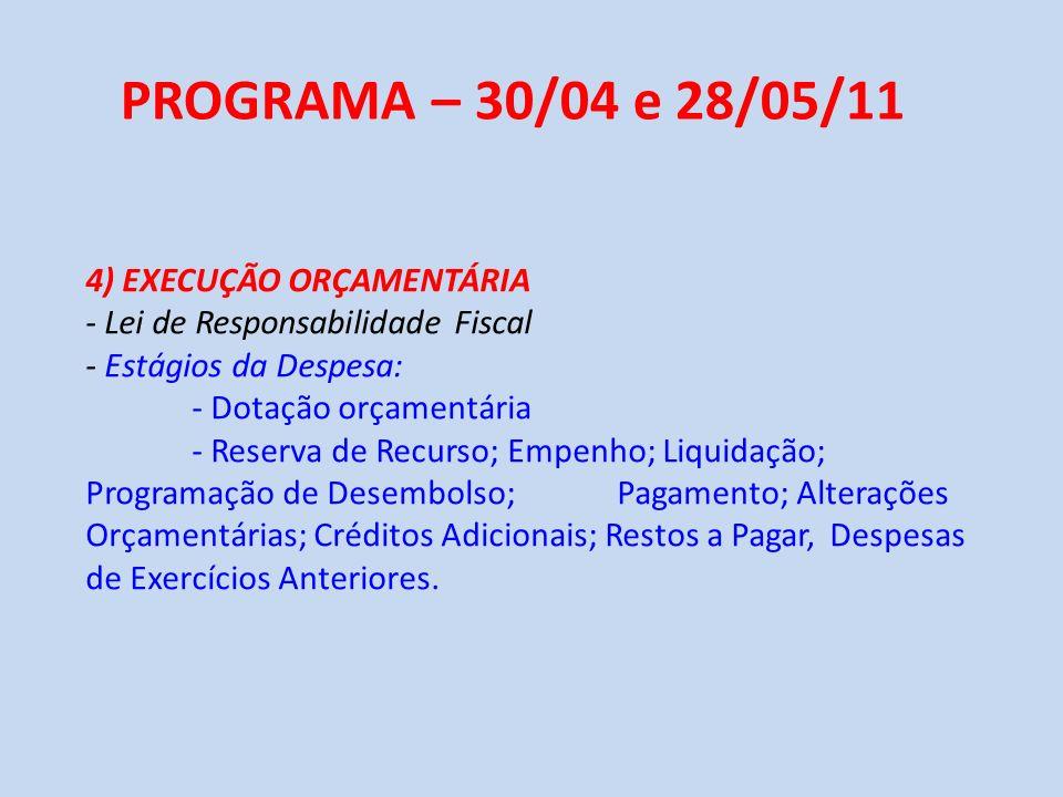 PROGRAMA – 30/04 e 28/05/11 4) EXECUÇÃO ORÇAMENTÁRIA