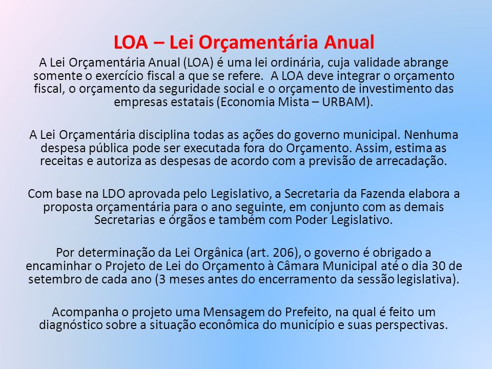 LOA – Lei Orçamentária Anual