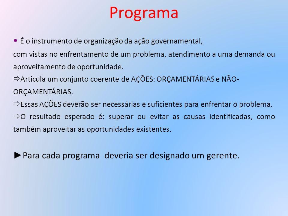 Programa É o instrumento de organização da ação governamental,