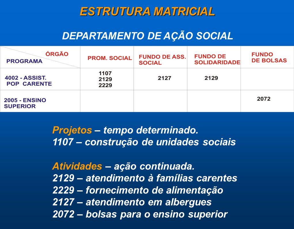 ESTRUTURA MATRICIAL DEPARTAMENTO DE AÇÃO SOCIAL