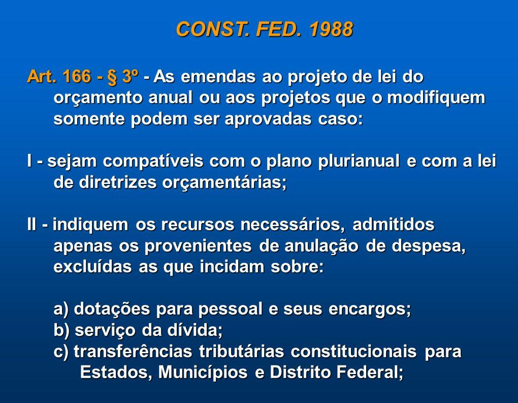CONST. FED. 1988Art. 166 - § 3º - As emendas ao projeto de lei do orçamento anual ou aos projetos que o modifiquem somente podem ser aprovadas caso: