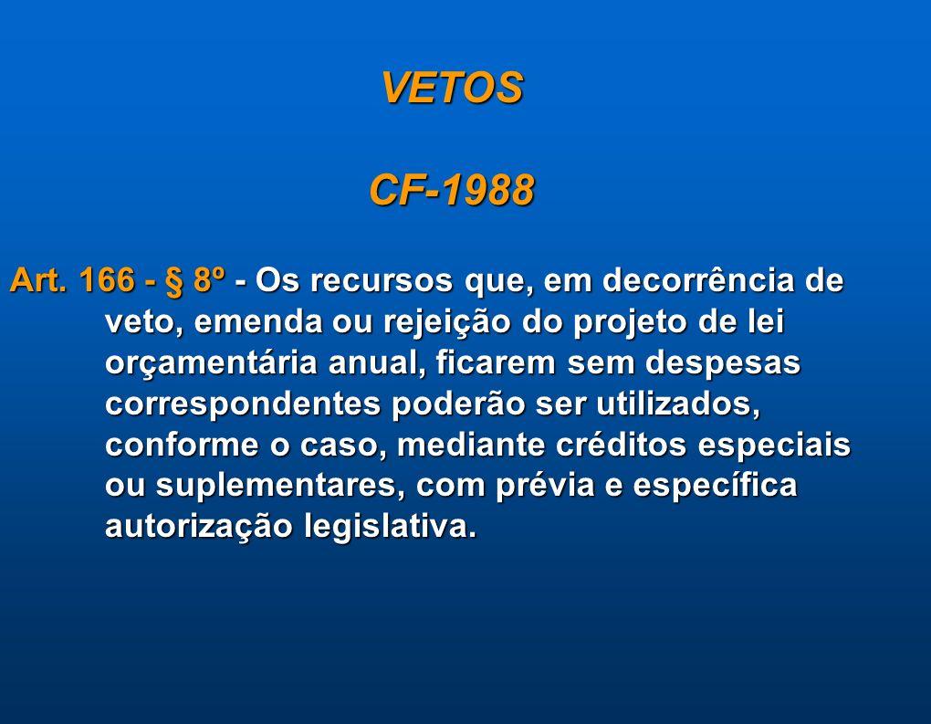 VETOS CF-1988. Art. 166 - § 8º - Os recursos que, em decorrência de veto, emenda ou rejeição do projeto de lei.
