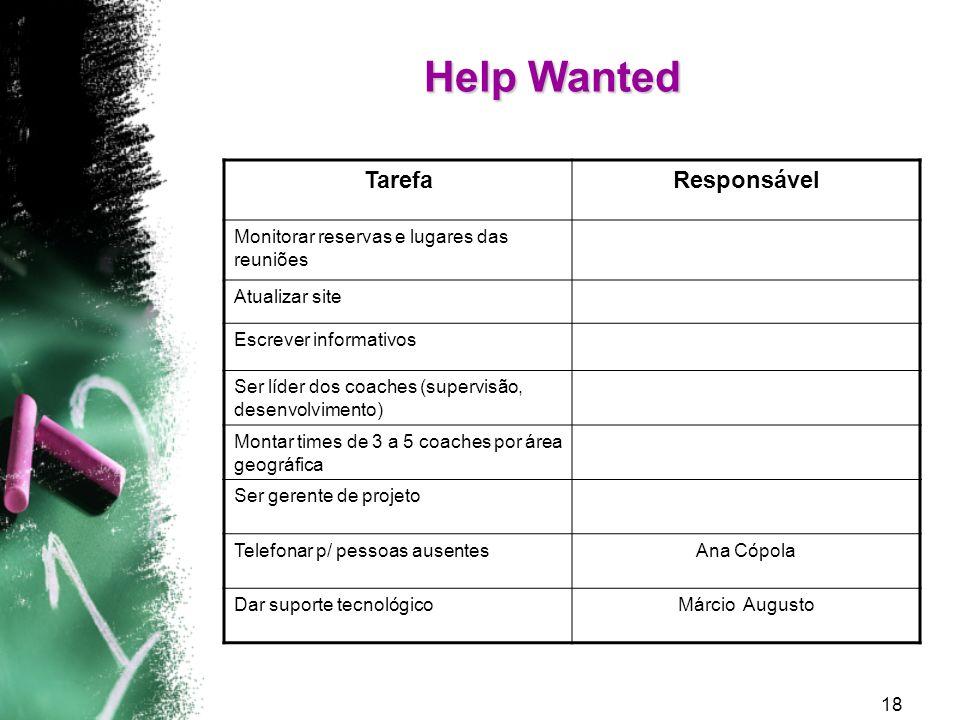 Help Wanted Tarefa Responsável