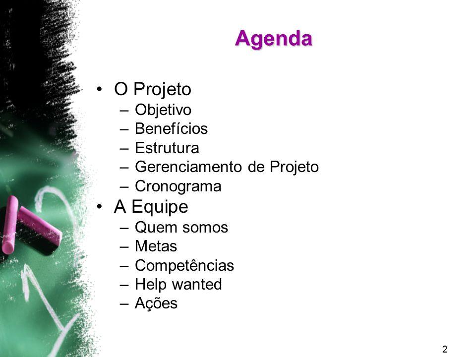 Agenda O Projeto A Equipe Objetivo Benefícios Estrutura