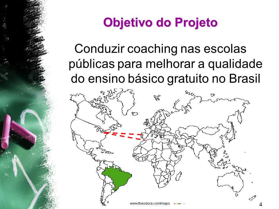 Objetivo do Projeto Conduzir coaching nas escolas públicas para melhorar a qualidade do ensino básico gratuito no Brasil.