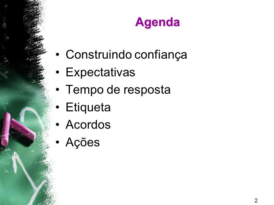 Agenda Construindo confiança Expectativas Tempo de resposta Etiqueta Acordos Ações