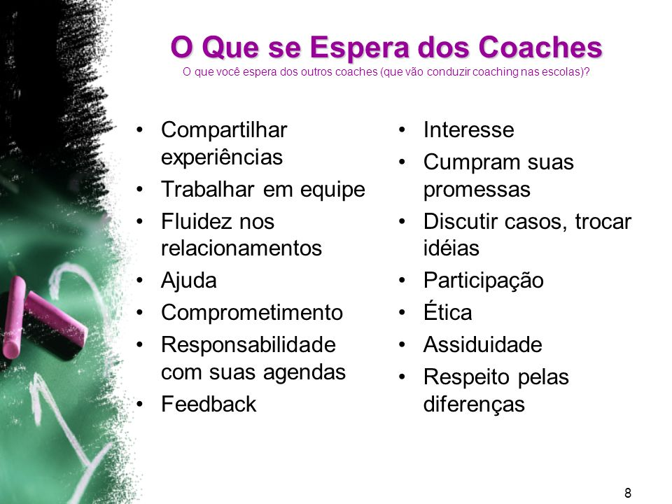 O Que se Espera dos Coaches O que você espera dos outros coaches (que vão conduzir coaching nas escolas)
