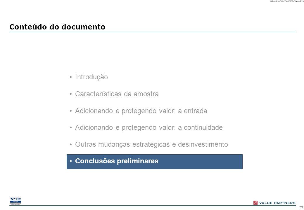 Conteúdo do documento Introdução. Características da amostra. Adicionando e protegendo valor: a entrada.