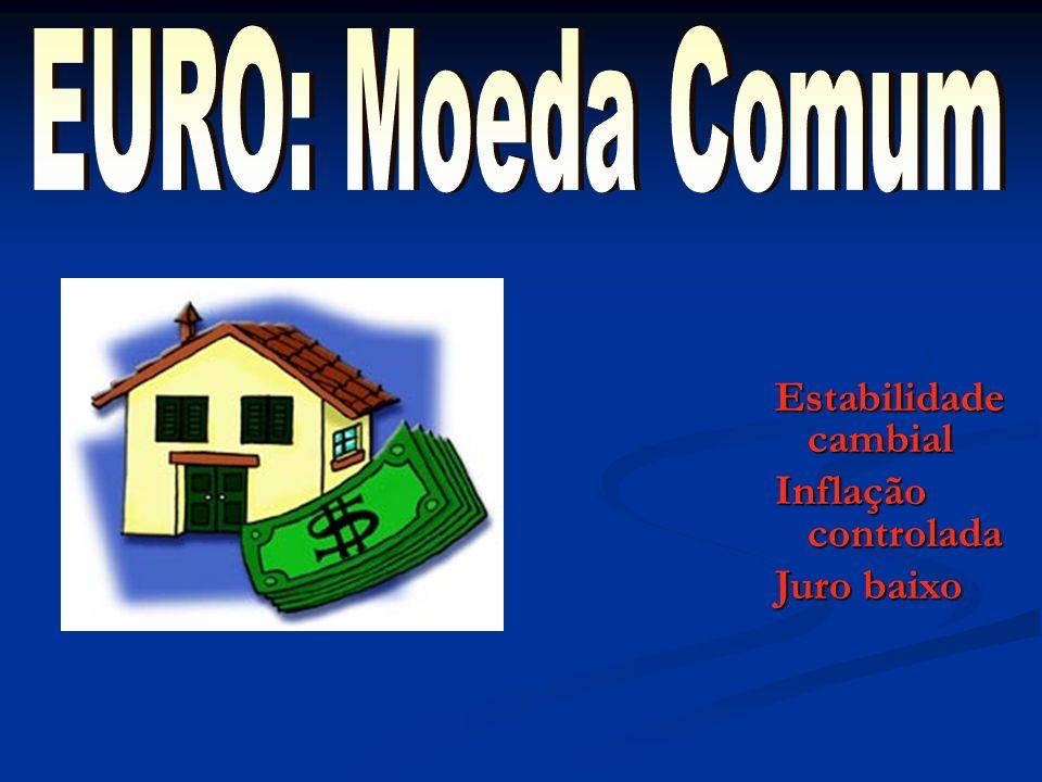 EURO: Moeda Comum Estabilidade cambial Inflação controlada Juro baixo