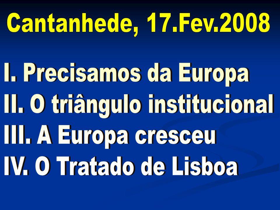II. O triângulo institucional III. A Europa cresceu