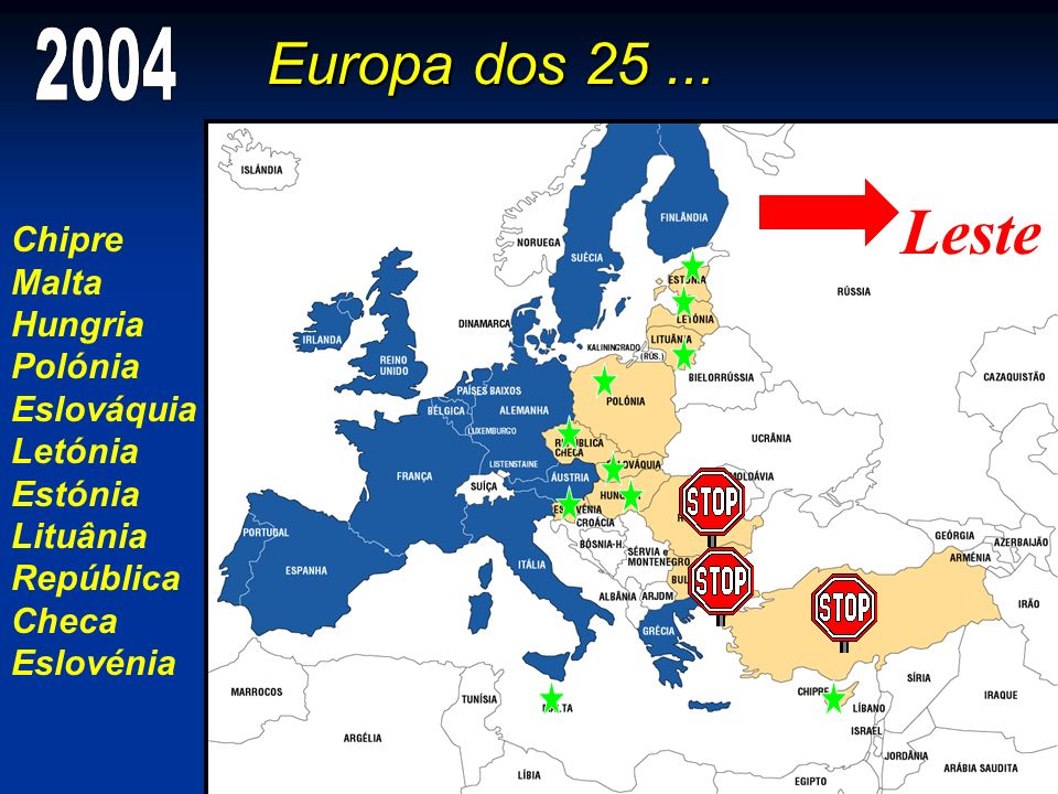 Leste Europa dos 25 ... 2004 Chipre Malta Hungria Polónia Eslováquia