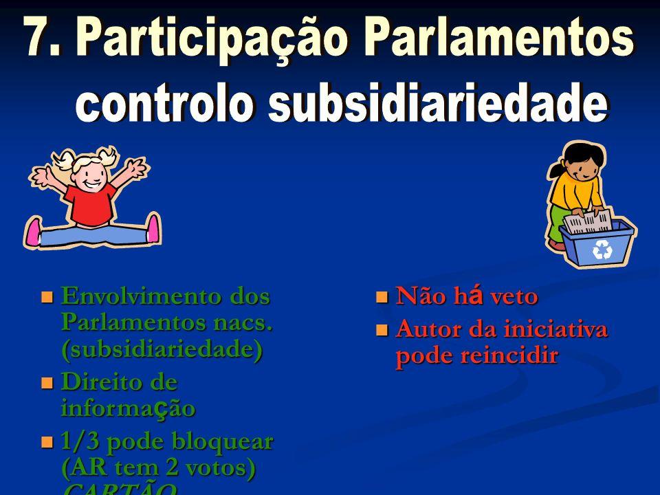 7. Participação Parlamentos controlo subsidiariedade