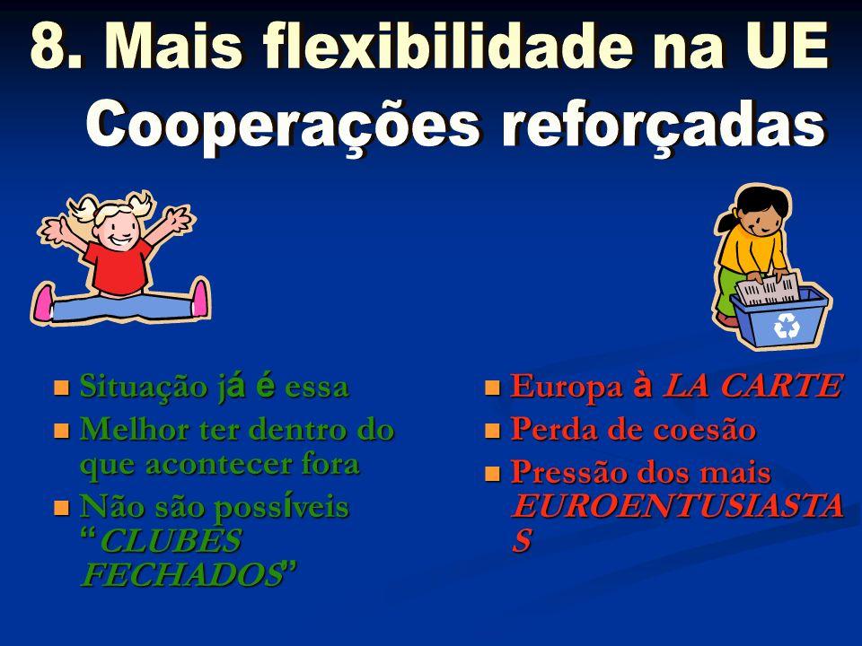 8. Mais flexibilidade na UE Cooperações reforçadas
