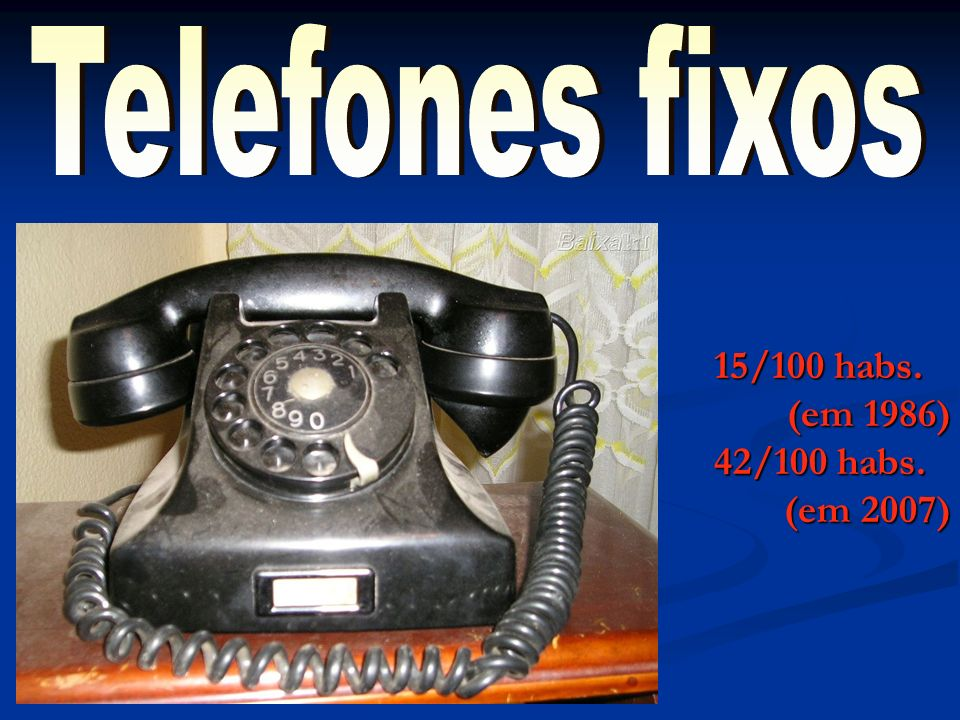 Telefones fixos 15/100 habs. (em 1986) 42/100 habs. (em 2007)