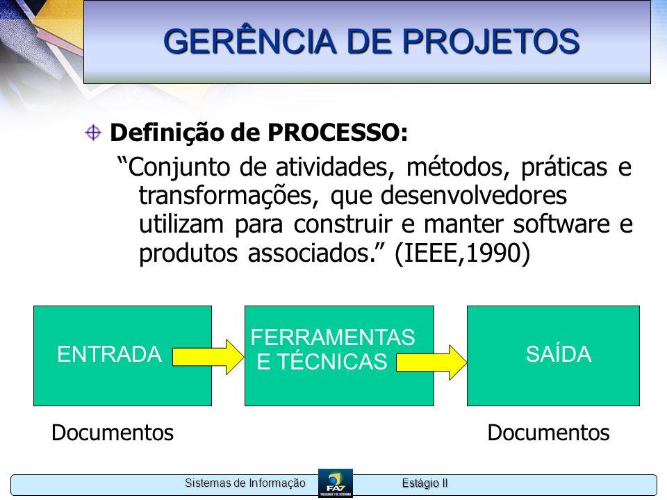 GERÊNCIA DE PROJETOS Definição de PROCESSO: