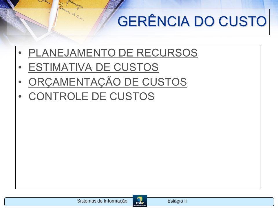 GERÊNCIA DO CUSTO PLANEJAMENTO DE RECURSOS ESTIMATIVA DE CUSTOS