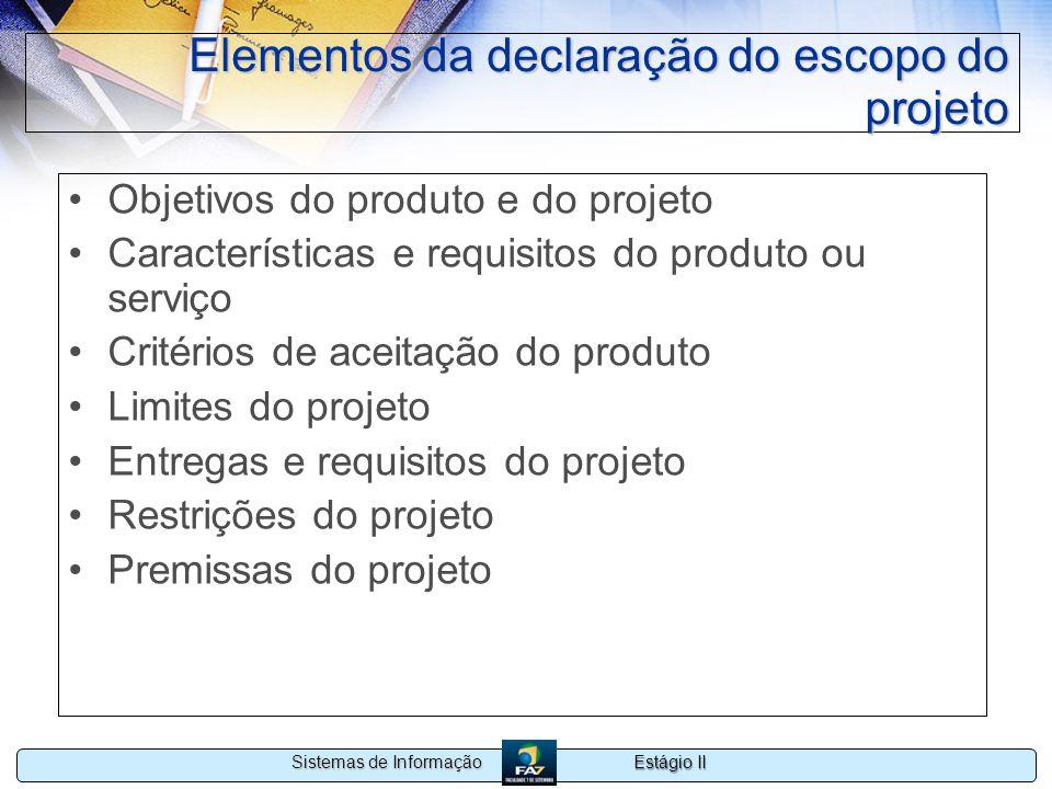 Elementos da declaração do escopo do projeto