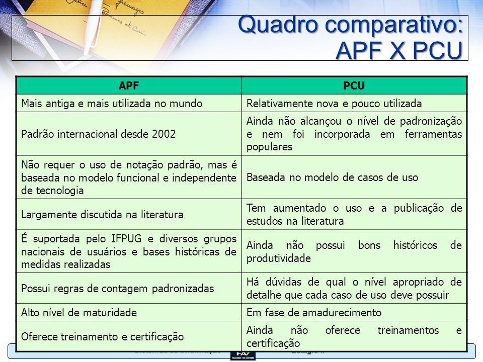 Quadro comparativo: APF X PCU