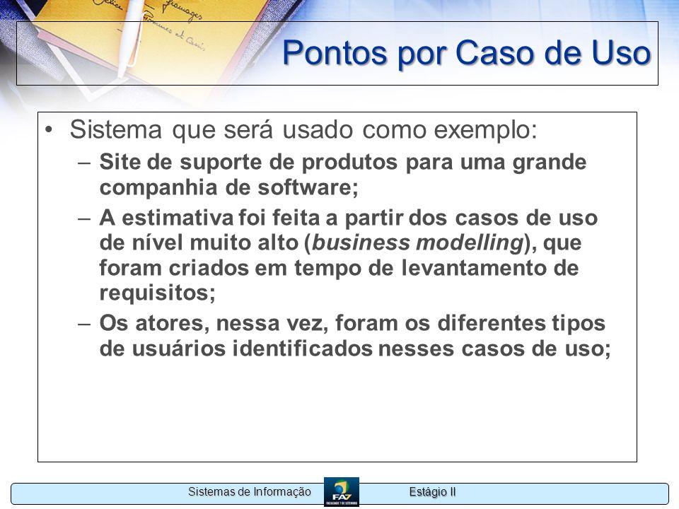 Pontos por Caso de Uso Sistema que será usado como exemplo: