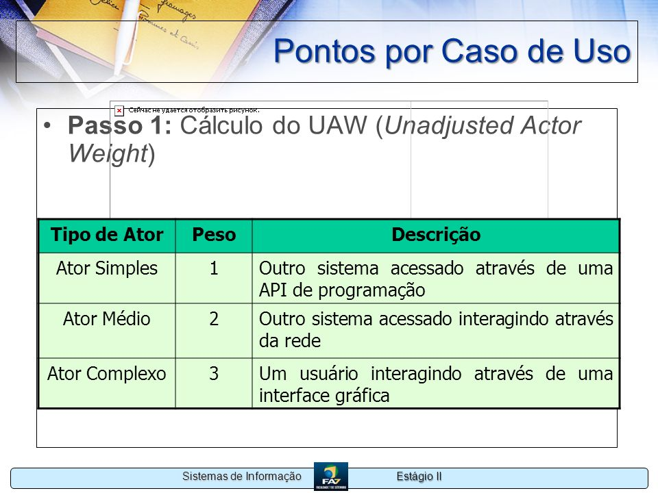 Pontos por Caso de Uso Passo 1: Cálculo do UAW (Unadjusted Actor Weight) Tipo de Ator. Peso. Descrição.