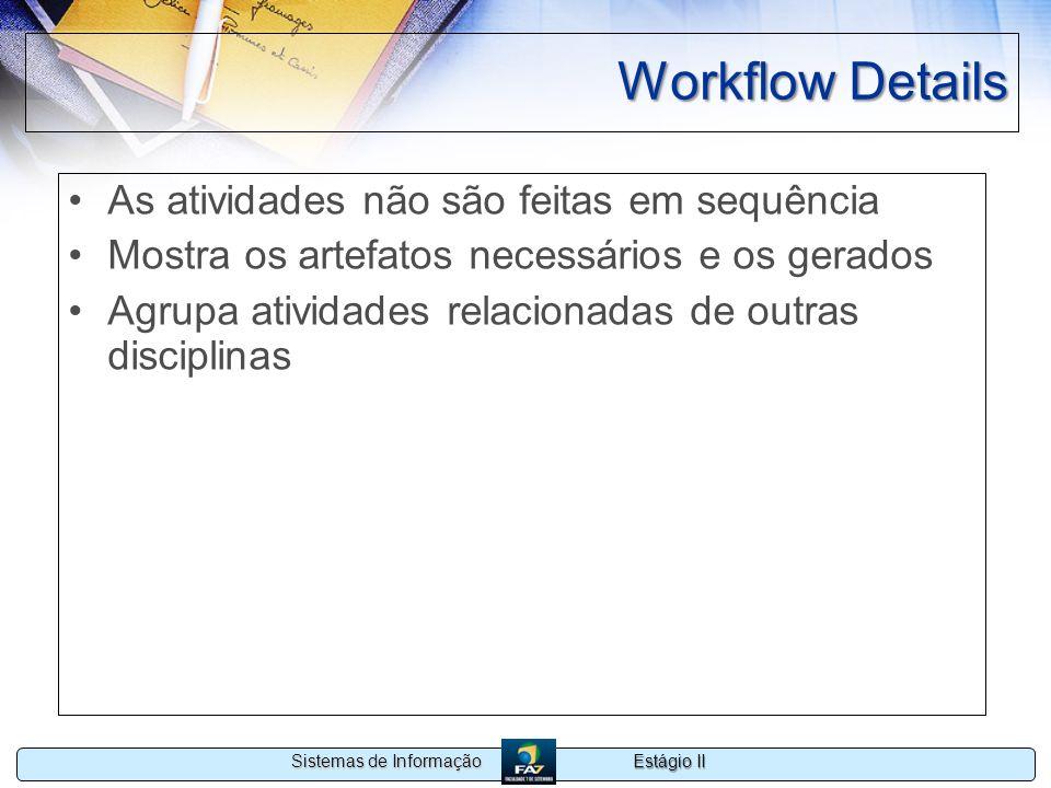 Workflow Details As atividades não são feitas em sequência