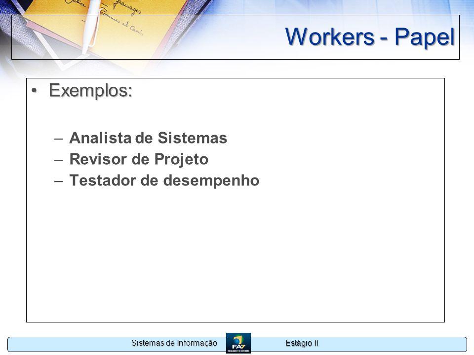 Workers - Papel Exemplos: Analista de Sistemas Revisor de Projeto