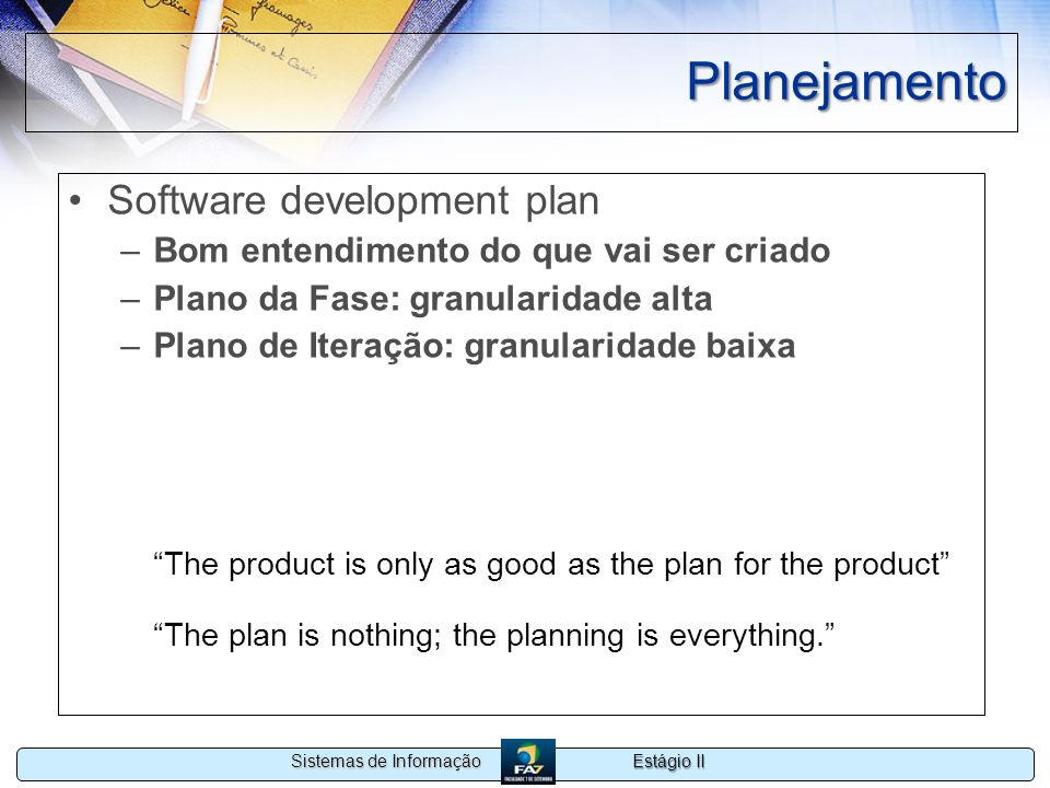 Planejamento Software development plan