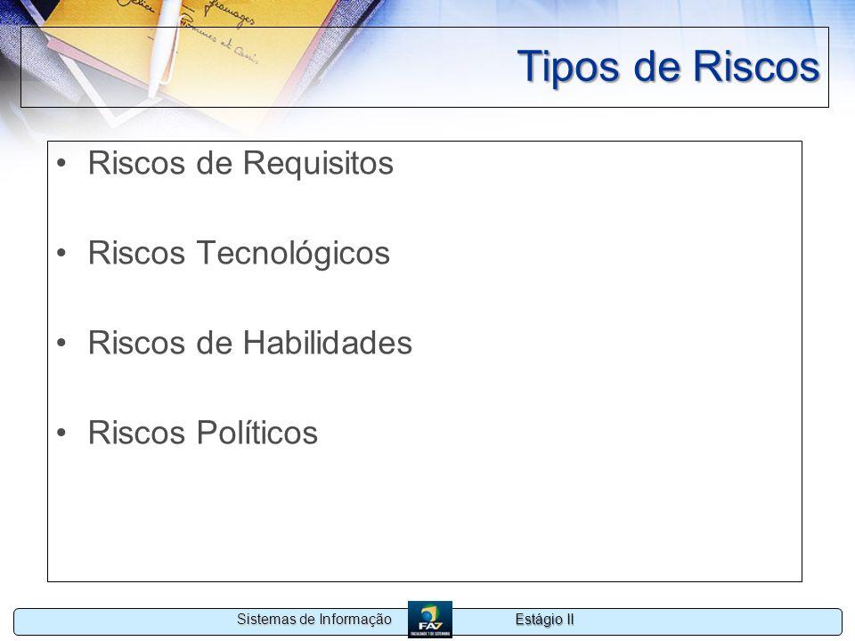 Tipos de Riscos Riscos de Requisitos Riscos Tecnológicos