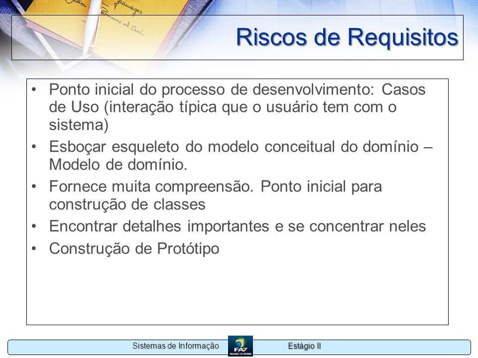 Riscos de Requisitos Ponto inicial do processo de desenvolvimento: Casos de Uso (interação típica que o usuário tem com o sistema)