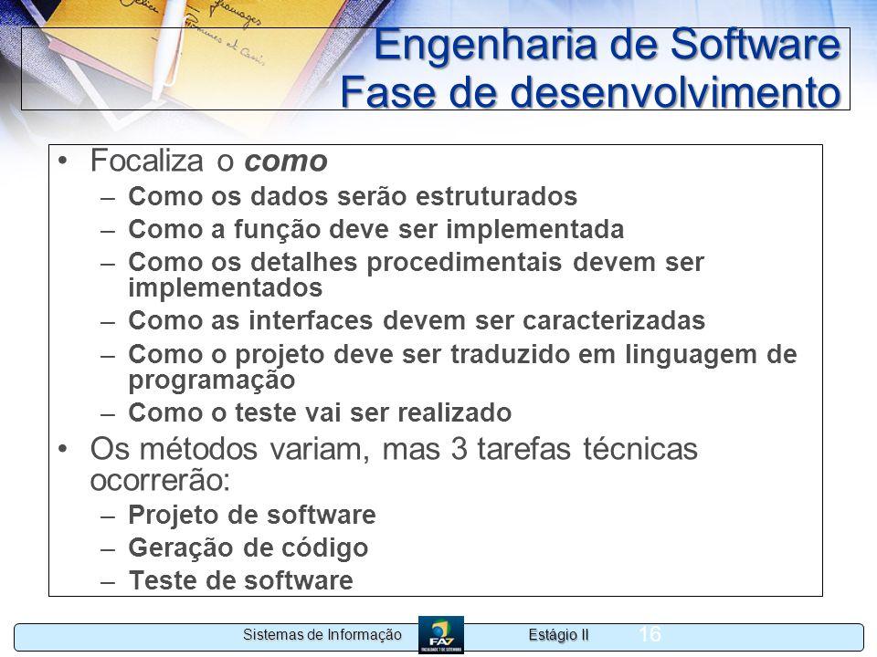 Engenharia de Software Fase de desenvolvimento