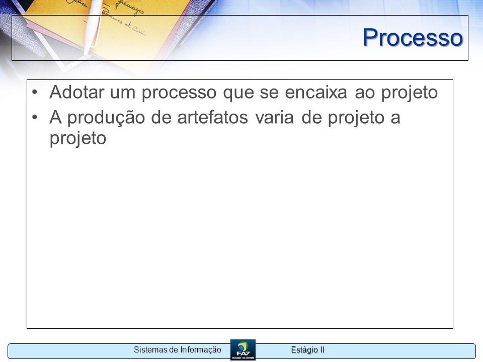 Processo Adotar um processo que se encaixa ao projeto