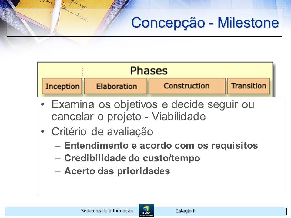Concepção - Milestone Examina os objetivos e decide seguir ou cancelar o projeto - Viabilidade. Critério de avaliação.