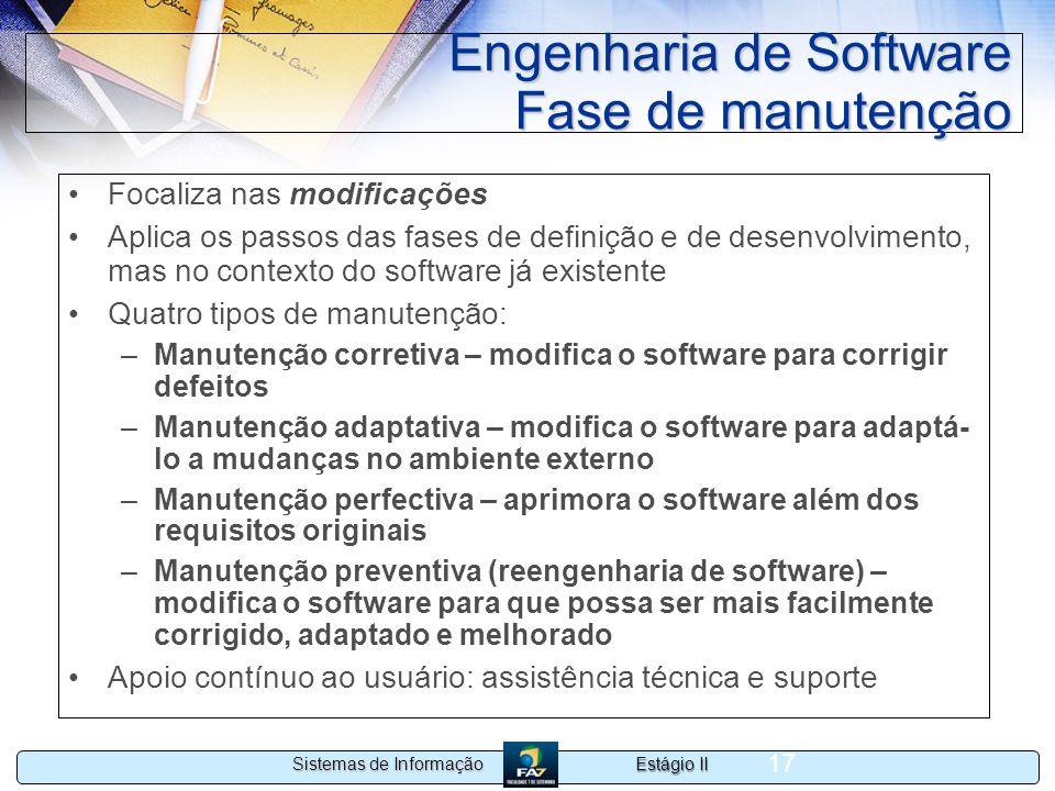 Engenharia de Software Fase de manutenção