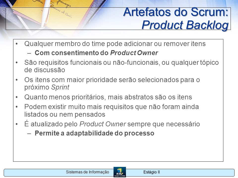 Artefatos do Scrum: Product Backlog