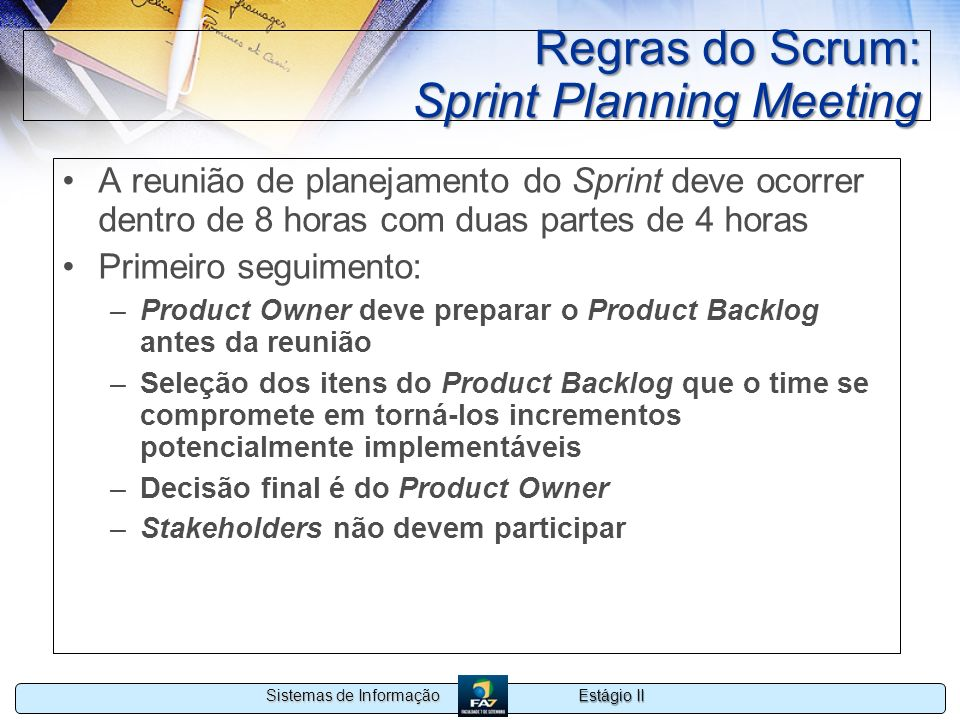 Regras do Scrum: Sprint Planning Meeting