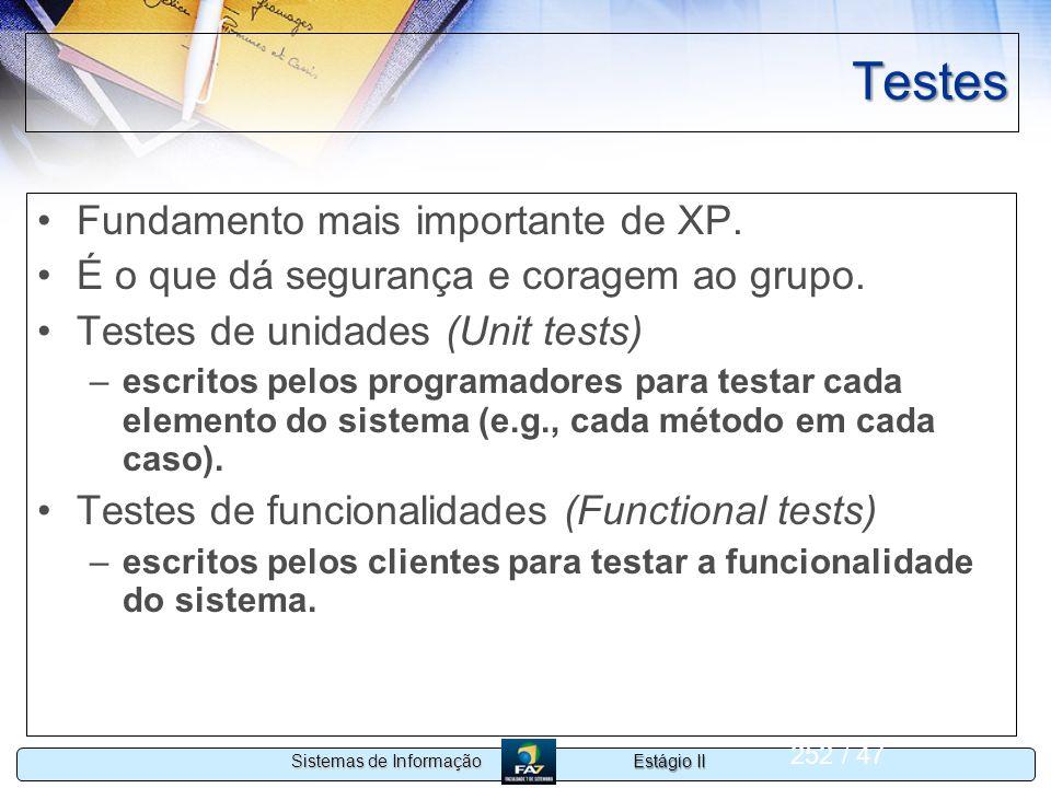 Testes Fundamento mais importante de XP.