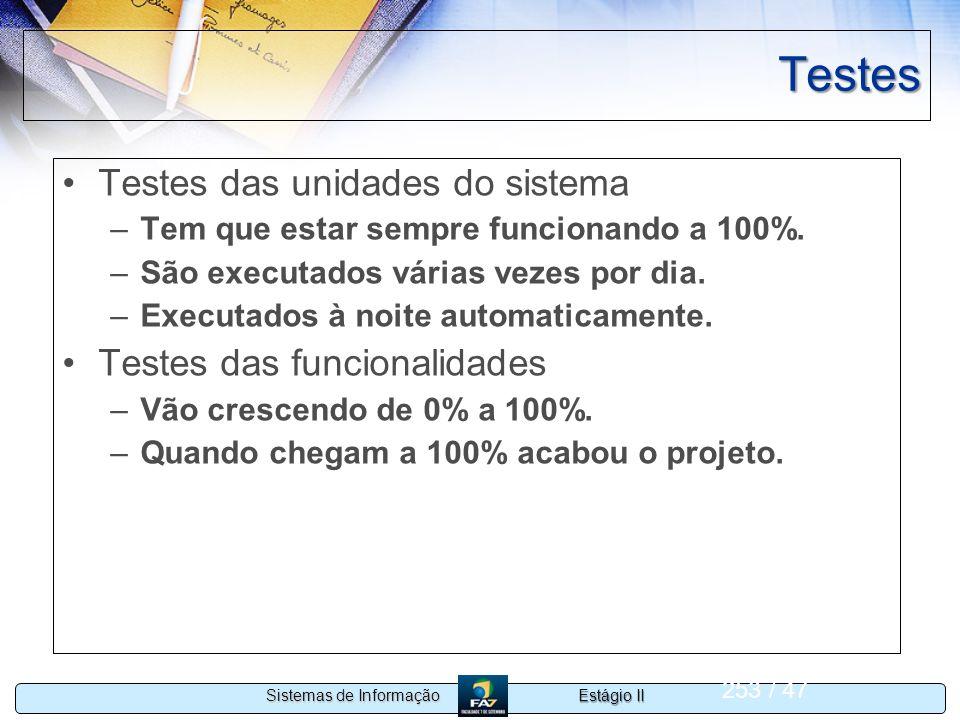 Testes Testes das unidades do sistema Testes das funcionalidades