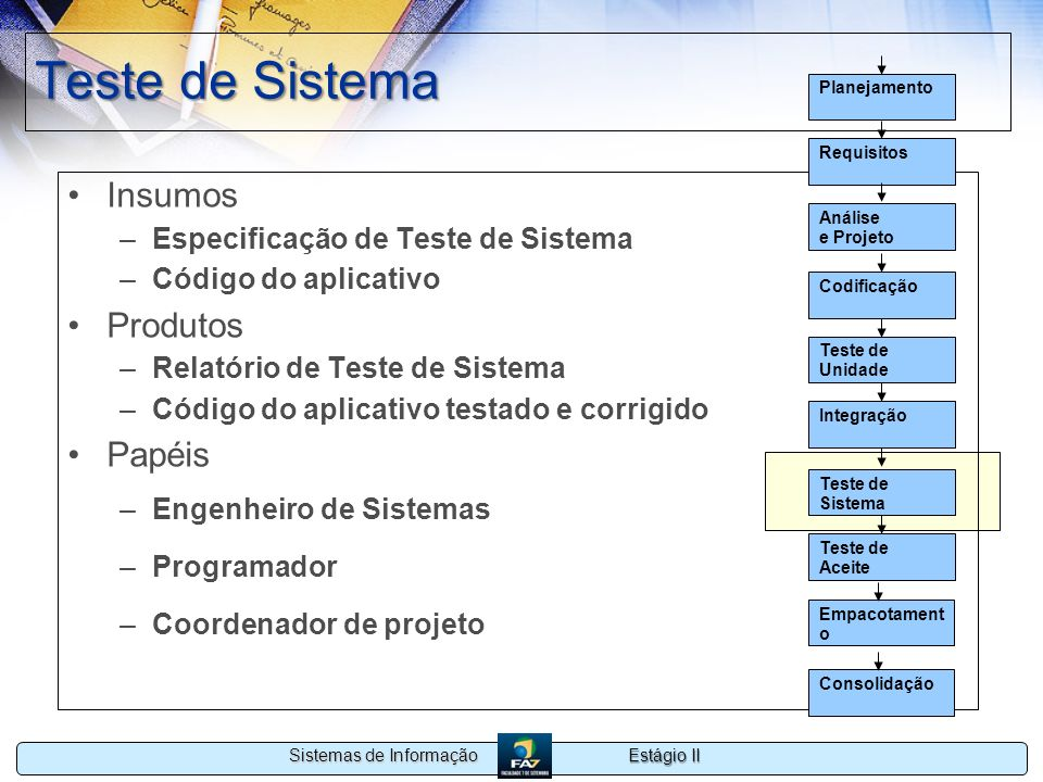 Teste de Sistema Insumos Produtos Papéis